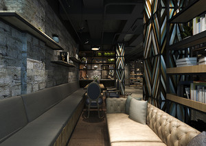 90平米后现代混搭风格卡咖啡厅室内装修效果图赏析
