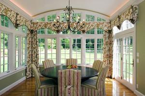 欧式田园风格别墅室内餐厅窗帘设计效果图