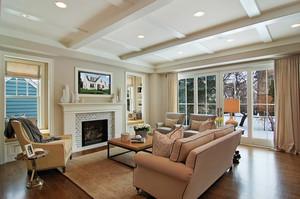 欧式风格别墅室内客厅吊顶设计装修效果图