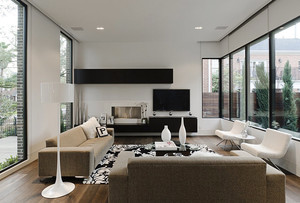 现代简约风格别墅室内客厅电视组合柜装修效果图