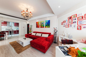 简欧风格色彩混搭不规则客厅装修效果图