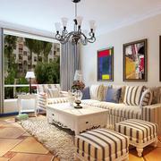 地中海风格两居室室内客厅装修效果图
