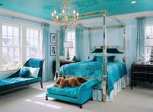 精致法式风格别墅室内蓝色卧室装修效果图