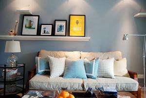 现代简约美式风格小户型客厅沙发效果图