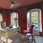 美式风格别墅室内书房设计装修效果图