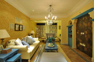 简约地中海风格三室两厅室内装修效果图案例