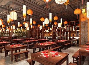 60平米新中式风格中餐厅设计装修效果图
