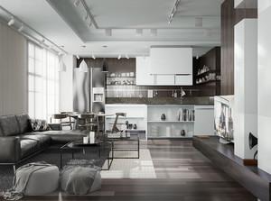 现代loft风格50平米小户型室内装修效果图