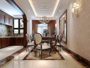 古典欧式风格复式楼餐厅窗帘装修效果图