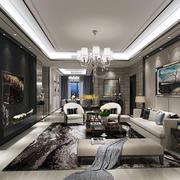 简欧风格大户型室内客厅电视背景墙装修效果图