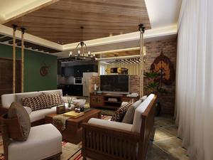 144平米东南亚风格复式楼室内装修效果图