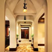 美式乡村风格别墅室内过道吊顶设计效果图赏析
