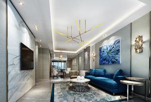 后现代风格大户型室内客厅大理石背景墙装修效果图