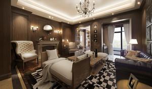 欧式风格别墅室内客厅吊灯装修效果图