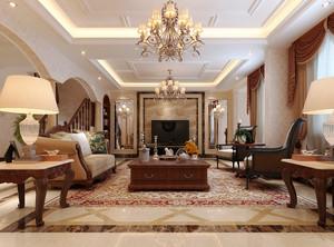 古典欧式风格别墅室内客厅水晶吊灯装修效果图