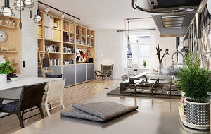 现代loft风格小户型客厅书架装修效果图赏析