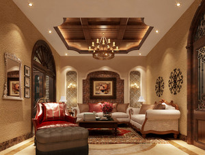 美式乡村风格别墅室内客厅吊顶装修效果图