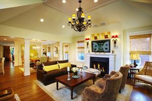 美式乡村风格两层别墅室内客厅装修效果图