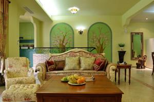 欧式田园风格复式楼客厅沙发背景墙装修效果图