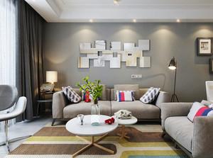 宜家简约风格中性暖色客厅装修效果图