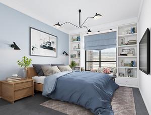 现代简约美式风格卧室飘窗设计效果图