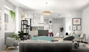 现代简约风格明亮小户型室内装修效果图案例