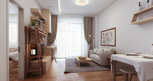 60平米日式简约风格一居室小户型装修效果图