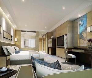38平米新中式风格宾管客房设计效果图