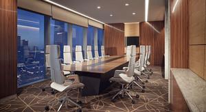 30平米现代风格会议室背景墙装修效果图赏析