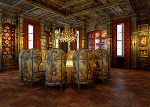 40平米复古欧式风格酒店包间装修效果图赏析