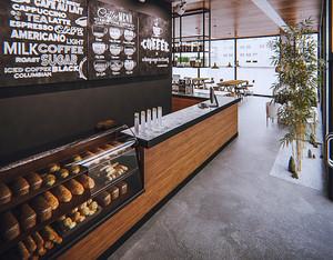 46平米现代loft风格咖啡厅商品展示柜装修效果图