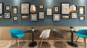 60平米后现代风格咖啡厅照片墙装修效果图