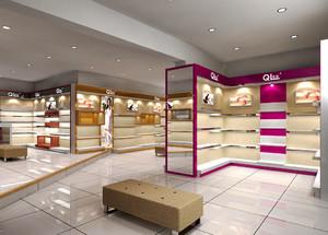 40平米现代简约风格鞋店展示柜装修效果图
