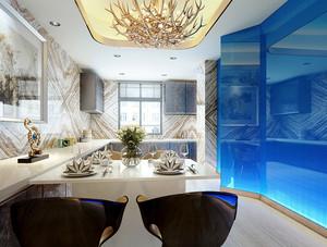 简欧风格大户型室内餐厅吊灯装修效果图赏析