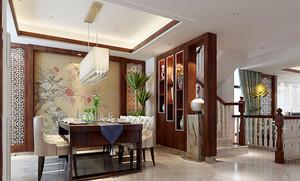 中式风格复式楼室内餐厅隔断装修效果图