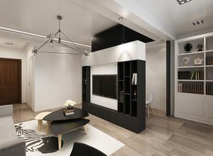 现代简约风格两居室客厅隔断墙装修效果图