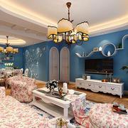 欧式田园风格大户型室内客厅吊顶设计效果图