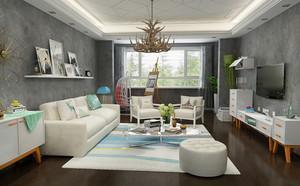 自然简约宜家风格三居室室内客厅吊顶效果图