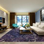 新中式风格大户型客厅窗帘设计效果图