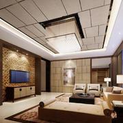 简约中式风格大户型客厅吸顶灯装修效果图