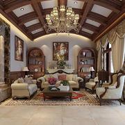 美式乡村风格别墅室内客厅吊顶设计效果图