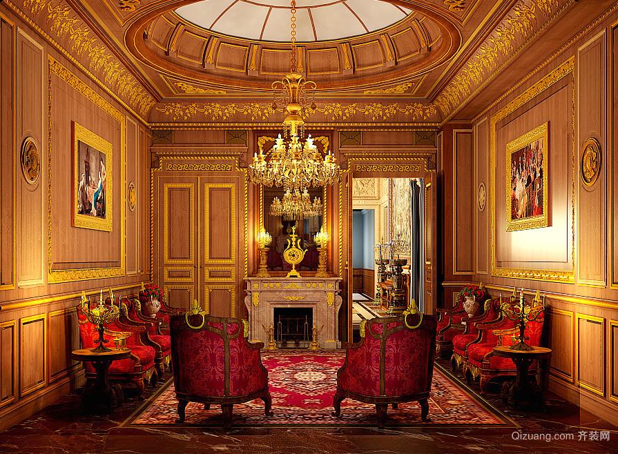 巴洛克风格别墅室内圆形餐厅吊顶装修效果图