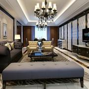 精致简欧风格大户型室内客厅电视背景墙装修效果图