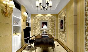 华丽精致欧式风格别墅室内书房设计效果图