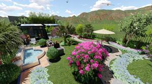 后现代风格别墅花园设计装修效果图