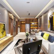 后现代风格大户型室内客厅沙发背景墙装修效果图