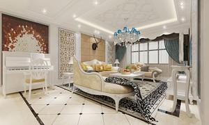 欧式风格三居室室内客厅吊灯装修效果图鉴赏