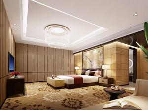 40平米新中式风格主卧室背景墙装修效果图赏析