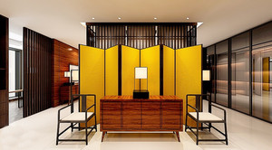 新中式风格大户型客厅屏风隔断设计效果图赏析