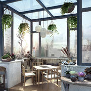 新中式风格大户型室内阳台花园设计装修效果图
